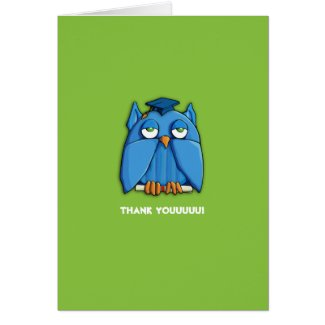 Aqua Owl Grad green Thank You Note Card zazzle_card