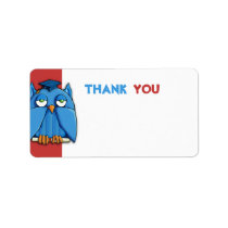 Aqua Owl Grad red Thank You Gift Tag