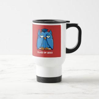 Aqua Owl Grad red Travel Mug