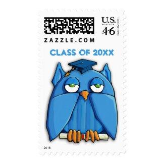 Aqua Owl Grad Stamp zazzle_stamp