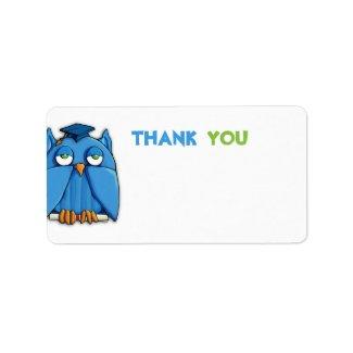 Aqua Owl Grad Thank You Gift Tag zazzle_label