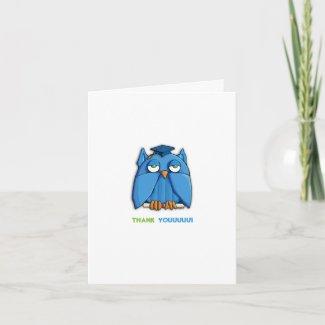 Aqua Owl Grad Thank You Note Card zazzle_card