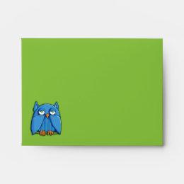 Aqua Owl green A2 Note Card Envelope