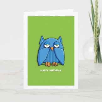 Aqua Owl green Birthday Card zazzle_card