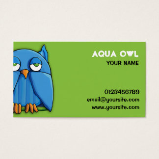 Aqua Owl green Business Card