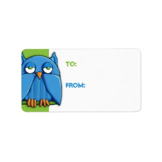 Aqua Owl green Gift Tag zazzle_label