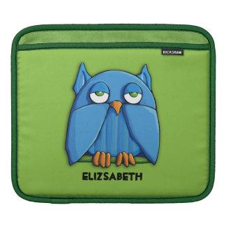 Aqua Owl green iPad Sleeve
