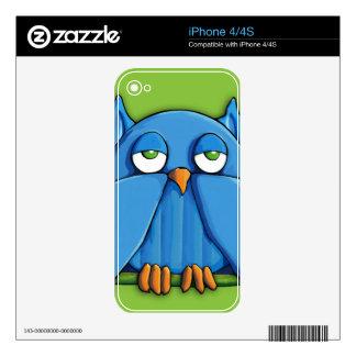 Aqua Owl green iPhone 4/4S Skin Decal For iPhone 4