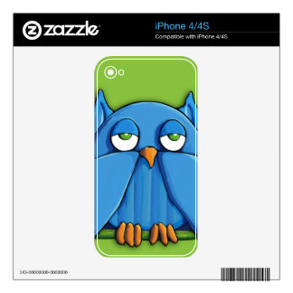 Aqua Owl green iPhone 4/4s Skin Decals For The iPhone 4