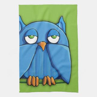 Aqua Owl green Kitchen Towel