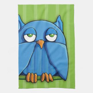Aqua Owl green stripes Kitchen Towel