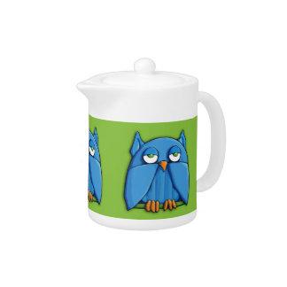 Aqua Owl green Teapot