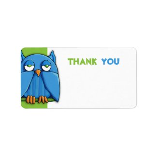 Aqua Owl green Thank You Sticker zazzle_label
