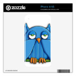 Aqua Owl iPhone 4/4s Skin Decal For iPhone 4S