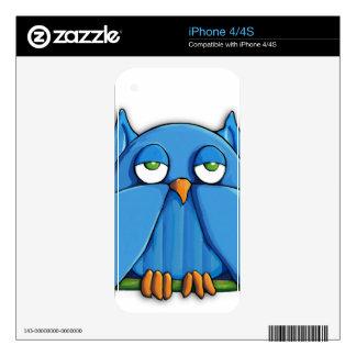 Aqua Owl iPhone 4/4s Skin Skins For The iPhone 4
