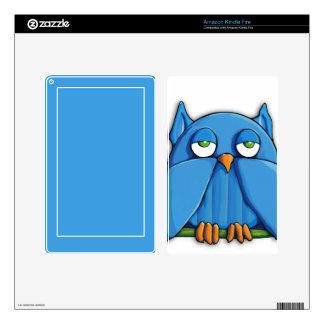 Aqua Owl Kindle Fire Skin