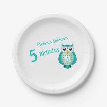 Aqua Owl Personalizable Birthday Plate