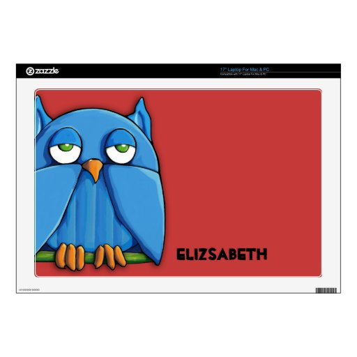 "Aqua Owl red 17"" Mac & PC Laptop Skin"