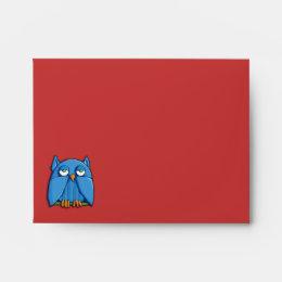 Aqua Owl red A2 Note Card Envelope