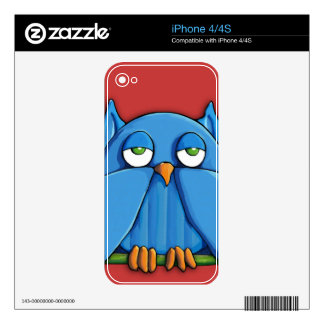 Aqua Owl red iPhone 4/4s Skin Decals For iPhone 4S