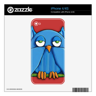 Aqua Owl red iPhone 4/4S Skin Decals For The iPhone 4S