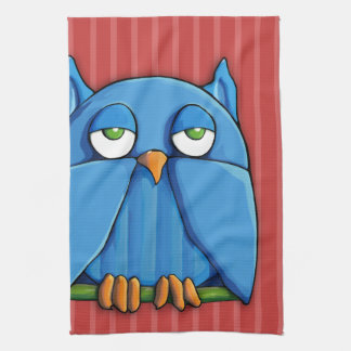 Aqua Owl red stripes Kitchen Towel