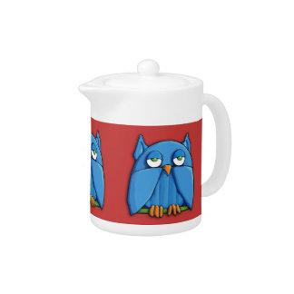 Aqua Owl red Teapot