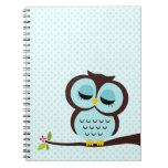 Aqua Owl Spiral Note Book