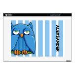"Aqua Owl stripes 15"" Mac & PC Laptop Skin"
