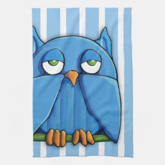 Aqua Owl stripes Kitchen Towel
