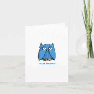 Aqua Owl Thank You Note Card zazzle_card