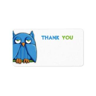 Aqua Owl Thank You Sticker zazzle_label