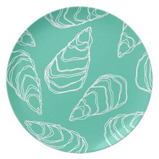 Aqua Oyster Shell Melamine Plate