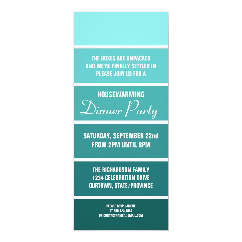 Aqua Paint Sample Card Housewarming Invitation