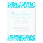 Aqua Paisley Bridal Shower Invitations Personalized Invitations