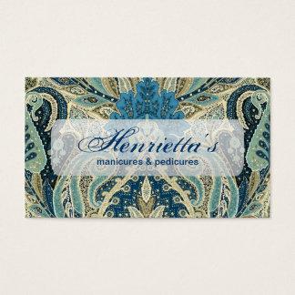 Aqua Paisley Fine Vintage Floral Pattern Business Card
