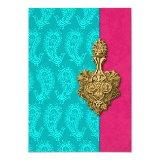 "Aqua Paisley Peacocks Indian Wedding Invitation 5"" X 7"" Invitation Card"