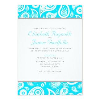 Aqua Paisley Wedding Invitations