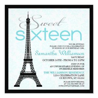 Aqua Paris Sweet 16 Invitations