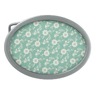 Aqua Pastel Blue Vintage Floral Print Pattern Belt Buckle