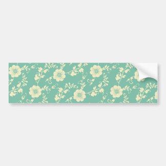 Aqua Pastel Blue Vintage Floral Print Pattern Bumper Sticker