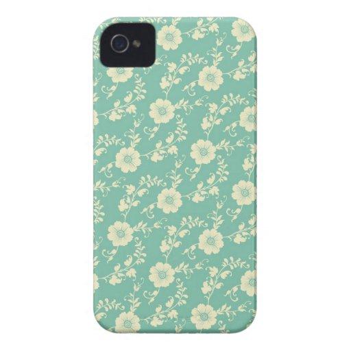 Aqua Pastel Blue Vintage Floral Print Pattern iPhone 4 Case-Mate Cases