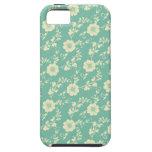 Aqua Pastel Blue Vintage Floral Print Pattern iPhone 5 Cases