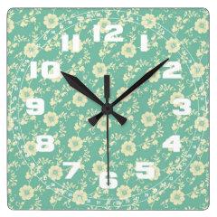 Aqua Pastel Blue Vintage Floral Print Pattern Clocks