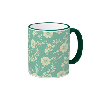 Aqua Pastel Blue Vintage Floral Print Pattern Mug