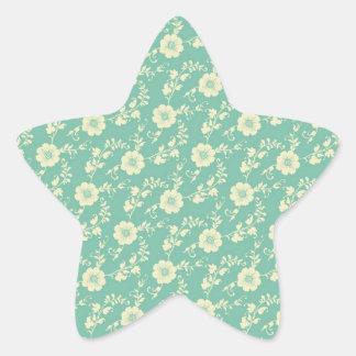 Aqua Pastel Blue Vintage Floral Print Pattern Star Sticker
