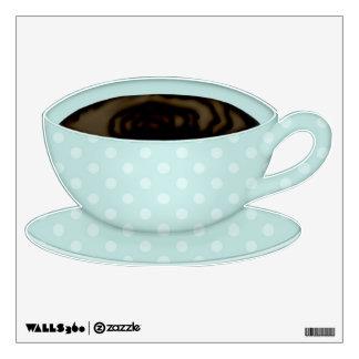 Aqua Pastel Polka Dot Tea Cup Room Graphic