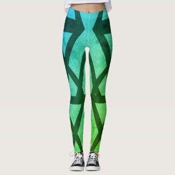 Aqua Pattern Leggings For Her by RainbowChild_Art at Zazzle