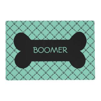Aqua Paw & Bone Design Personalized Pet Placemat Laminated Placemat