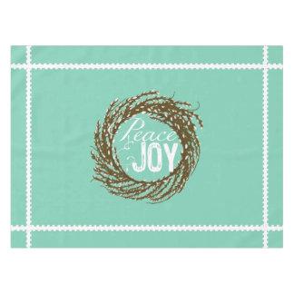 Aqua Peace and Joy Pussy Willow Wreath Tablecloth